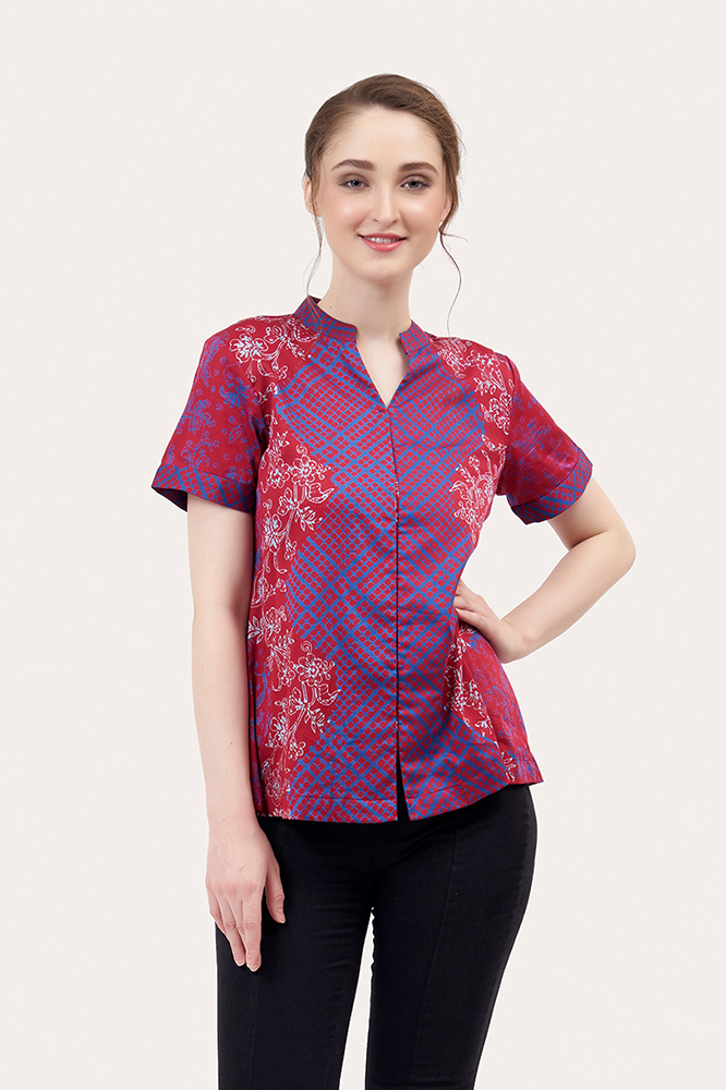 Short Sleeve Batik Blouse