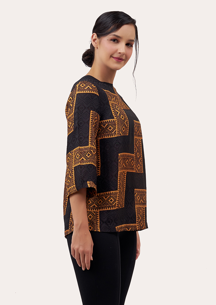 Long Sleeve Batik Blouse